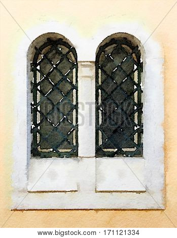 Digital watercolor painting of an old double window in Lisbon in Portugal. The windows are surrounded by stone and they have lattice across them.