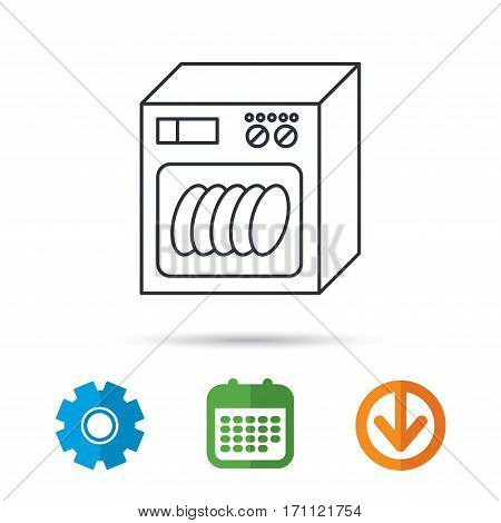 Dishwasher icon. Kitchen appliance sign. Calendar, cogwheel and download arrow signs. Colored flat web icons. Vector
