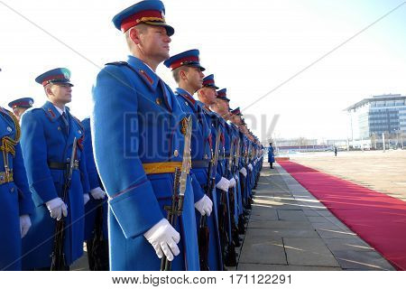 Belgrade, Serbia. January 31St 2017: Honorary Guards Units Army Of Republic Of Serbia At The Plateau
