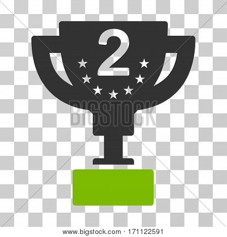 Second Prize Cup icon. Vector illustration style is flat iconic bicolor symbol eco green and gray colors transparent background. Designed for web and software interfaces.