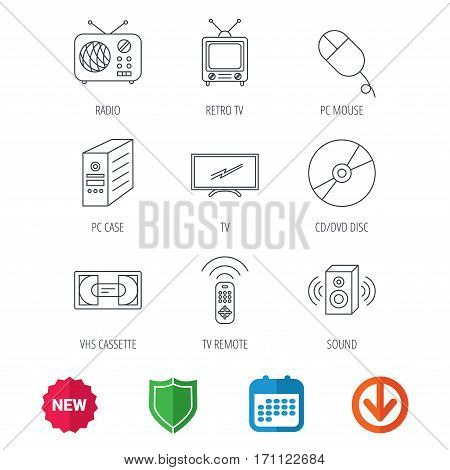 Retro TV, radio and DVD disc icons. PC mouse, VHS cassette and sound speaker linear signs. New tag, shield and calendar web icons. Download arrow. Vector