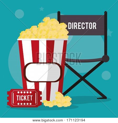 cinema director chair pop corn and ticket vector illustration eps 10