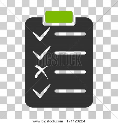 Task List icon. Vector illustration style is flat iconic bicolor symbol eco green and gray colors transparent background. Designed for web and software interfaces.