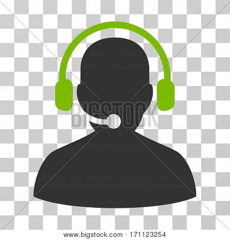 Telemarketing icon. Vector illustration style is flat iconic bicolor symbol eco green and gray colors transparent background. Designed for web and software interfaces.