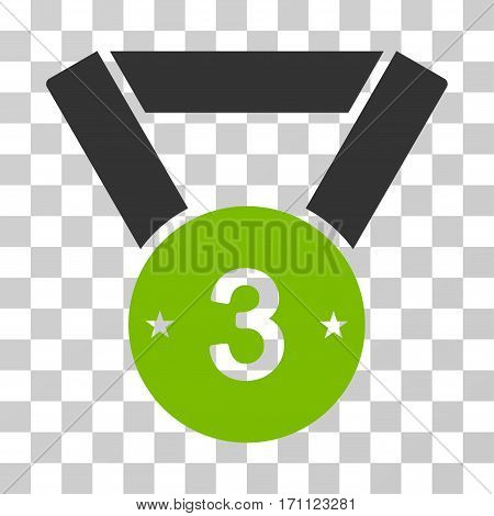 Third Medal icon. Vector illustration style is flat iconic bicolor symbol eco green and gray colors transparent background. Designed for web and software interfaces.