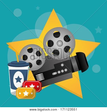 cinema movie projector tickets and soda drink vector illustration eps 10