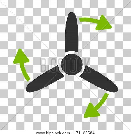 Three Bladed Screw Rotation icon. Vector illustration style is flat iconic bicolor symbol eco green and gray colors transparent background. Designed for web and software interfaces.