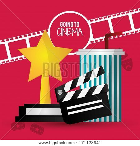going to cinema film clapper strip award soda with straw vector illustration eps 10