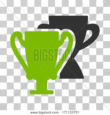 Trophy Cups icon. Vector illustration style is flat iconic bicolor symbol eco green and gray colors transparent background. Designed for web and software interfaces.