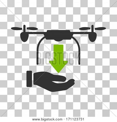 Unload Drone Hand icon. Vector illustration style is flat iconic bicolor symbol eco green and gray colors transparent background. Designed for web and software interfaces.
