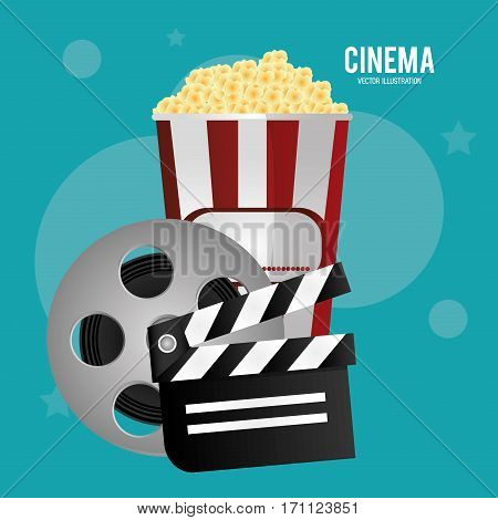 cinema reel film pop corn clapper movie vector illustration eps 10