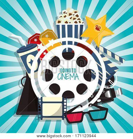 cinema movie concept with pop corn soda glasses filmstrip vector illustration eps 10