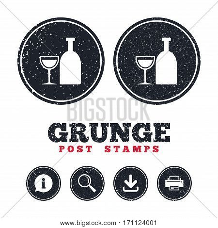 Grunge post stamps. Alcohol sign icon. Drink symbol. Bottle with glass. Information, download and printer signs. Aged texture web buttons. Vector