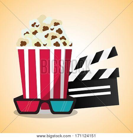 cinema pop corn clapper and 3d glasses vector illustration eps 10
