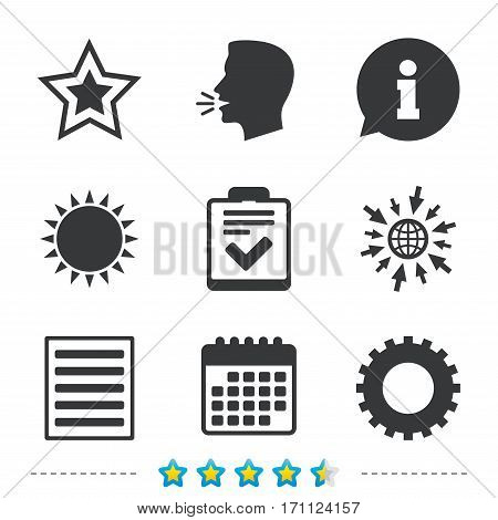 Star favorite and menu list icons. Checklist and cogwheel gear sign symbols. Information, go to web and calendar icons. Sun and loud speak symbol. Vector