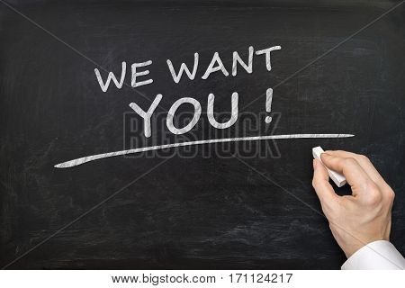 Hand is writing We Want You on blackboard. Career concept. poster