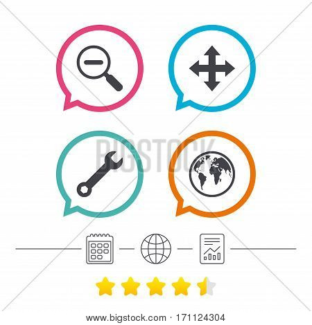 Magnifier glass and globe search icons. Fullscreen arrows and wrench key repair sign symbols. Calendar, internet globe and report linear icons. Star vote ranking. Vector