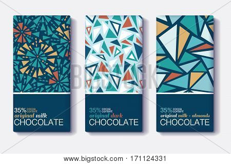 Vector Set Of Chocolate Bar Package Designs With Vintage Geometric Mosaic Patterns. Editable Packaging Template Collection. Surface pattern design.