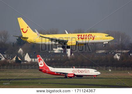 Tuifly And Air Berlin Boeing 737 Airplanes Dusseldorf Airport