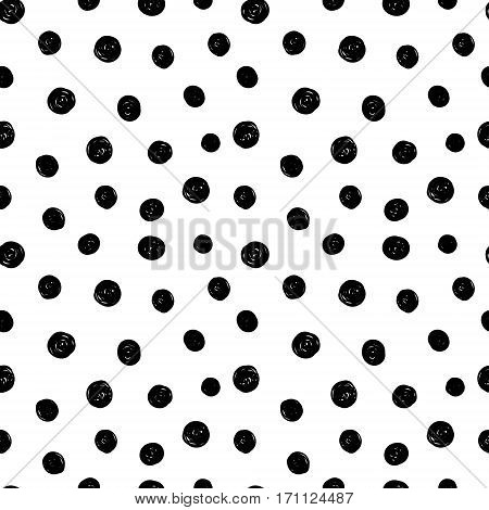 Vector Abstract Hand Drawn Black and White Ink Polka Dot Pattern With Fun Circles. Great for vintage fabric, cards, invitations, clothing, packaging, scrapbooking, wallpaper.