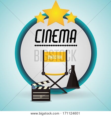 cinema director chair clapper and speaker badge vector illustration eps 10