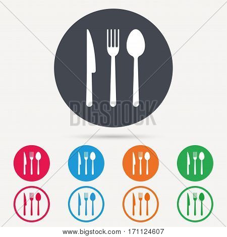 Fork, knife and spoon icons. Cutlery symbol. Round circle buttons. Colored flat web icons. Vector