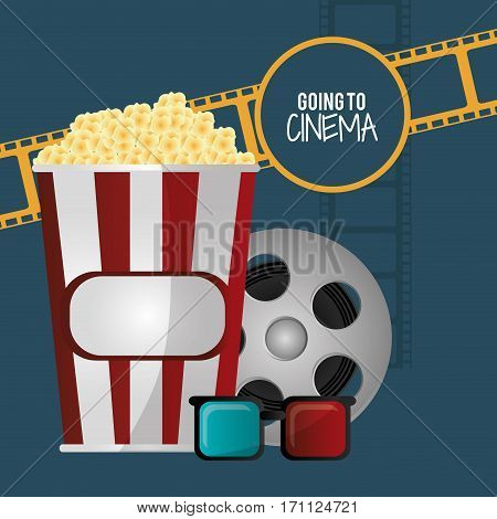 going to cinema pop corn 3d glasses film strip vector illustration eps 10