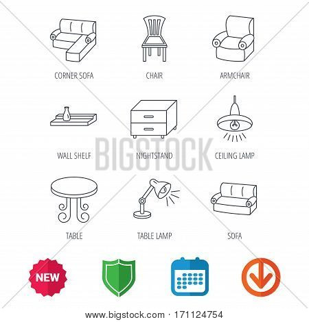 Corner sofa, table and armchair icons. Chair, ceiling lamp and nightstand linear signs. Wall shelf furniture flat line icons. New tag, shield and calendar web icons. Download arrow. Vector