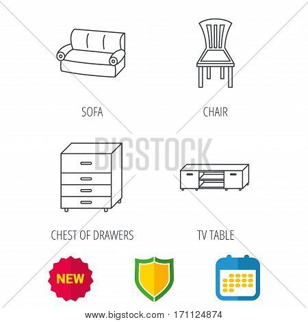 Sofa, chair and chest of drawers icons. TV table linear sign. Shield protection, calendar and new tag web icons. Vector