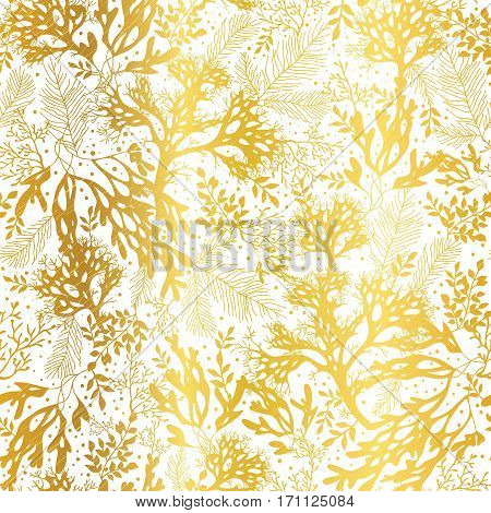 Vector Gold and White Seaweed Texture Seamless Pattern Background. Great for elegant gray fabric, cards, wedding invitations, wallpaper. Textile pattern design.