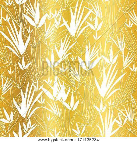 Vector Golden on White Asian Bamboo Leaves Seamless Pattern Background. Great for tropical vacation fabric, cards, wedding invitations, wallpaper. Surface pattern design.