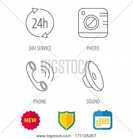 Phone call, 24h service and sound icons. Photo camera linear sign. Shield protection, calendar and new tag web icons. Vector
