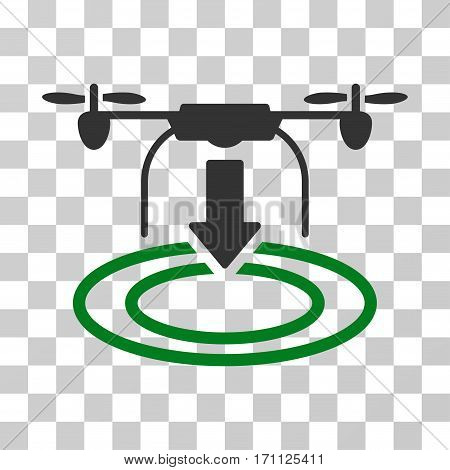 Drone Landing icon. Vector illustration style is flat iconic bicolor symbol green and gray colors transparent background. Designed for web and software interfaces.