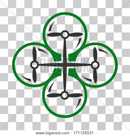 Drone Screws icon. Vector illustration style is flat iconic bicolor symbol green and gray colors transparent background. Designed for web and software interfaces.