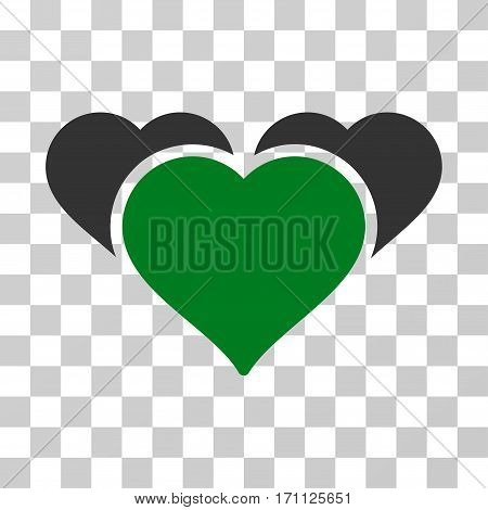 Favourite Hearts icon. Vector illustration style is flat iconic bicolor symbol green and gray colors transparent background. Designed for web and software interfaces.