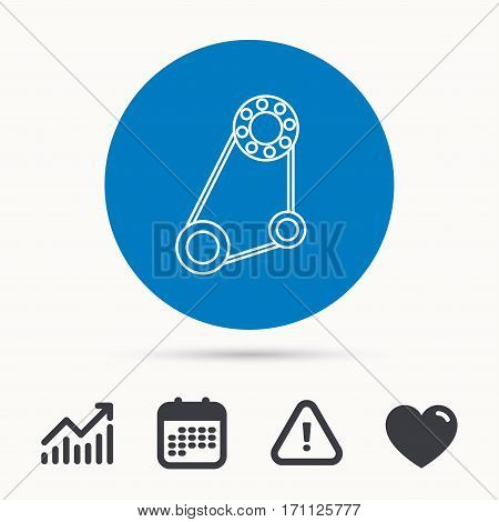 Timing belt icon. Generator strap sign. Repair service symbol. Calendar, attention sign and growth chart. Button with web icon. Vector