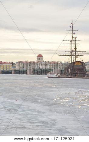 View of Exchange Bridge Vasilevsky Island and frozen Neva River in St.Petersburg Russia.