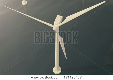Offshore wind turbine farm in the sea, ocean. Clean energy, wind energy, ecological concept, 3d rendering