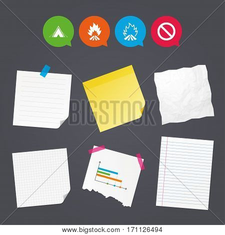 Business paper banners with notes. Tourist camping tent icon. Fire flame and stop prohibition sign symbols. Sticky colorful tape. Speech bubbles with icons. Vector