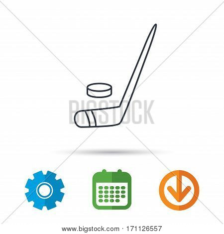 Ice hockey icon. Professional sport game sign. Calendar, cogwheel and download arrow signs. Colored flat web icons. Vector