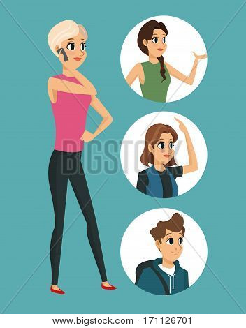 cartoon girl talk cellphone with round icons vector illustration eps 10