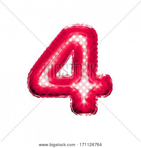 Metallic Red with Gold balloon number 4 Four on white background