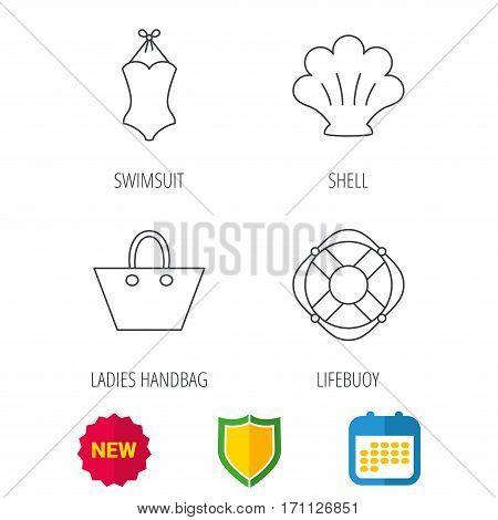Ladies handbag, shell and swimsuit icons. Lifebuoy linear sign. Shield protection, calendar and new tag web icons. Vector