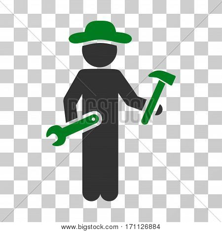 Gentleman Serviceman icon. Vector illustration style is flat iconic bicolor symbol green and gray colors transparent background. Designed for web and software interfaces.
