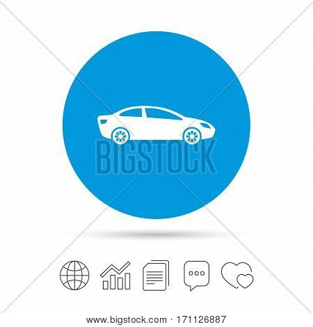 Car sign icon. Sedan saloon symbol. Transport. Copy files, chat speech bubble and chart web icons. Vector
