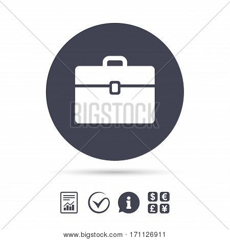 Case sign icon. Briefcase button. Report document, information and check tick icons. Currency exchange. Vector