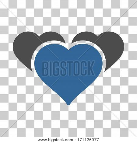 Favourite Hearts icon. Vector illustration style is flat iconic bicolor symbol cobalt and gray colors transparent background. Designed for web and software interfaces.