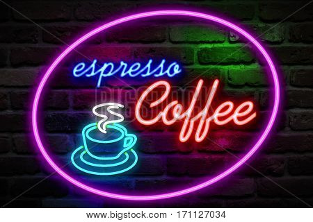 Flickering Blinking Red And Blue Neon Espresso Coffee Image Symbol Sign On Brick Wall Background, Op