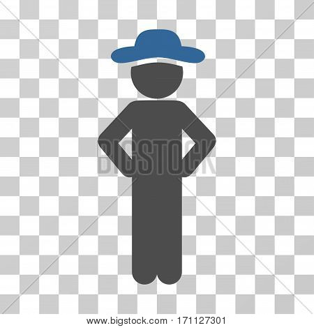 Gentleman Akimbo icon. Vector illustration style is flat iconic bicolor symbol cobalt and gray colors transparent background. Designed for web and software interfaces.