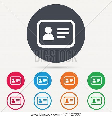 ID card icon. Personal identification document symbol. Round circle buttons. Colored flat web icons. Vector